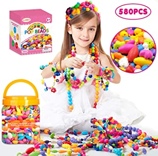 Oumoda Pop Beads Girls Toys 580 PCS DIY Jewelry Making Kit- Kids Snap Beads Jewelry DIY Set Making Necklace, Bracelet, Rin...