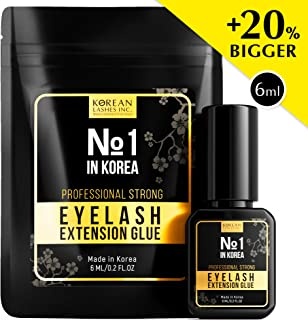 EXTRA STRENGTH Korean №1 Professional Eyelash Extension Glue - Oil Resistant - Water-Proof Formula - 6ml - Latex and Formaldehyde Free - Black Adhesive - 1.5 Sec Drying time - Retention Up To 8 weeks