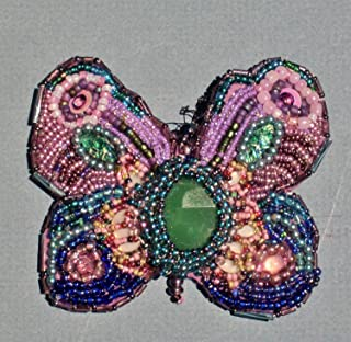 Hand-Beaded Butterfly Brooch/Pendan with Emerald Green, Turquoise, Blue, Purple and Opals, Approx. 800 Beads. Pendant Converter Included No Additional Charge.