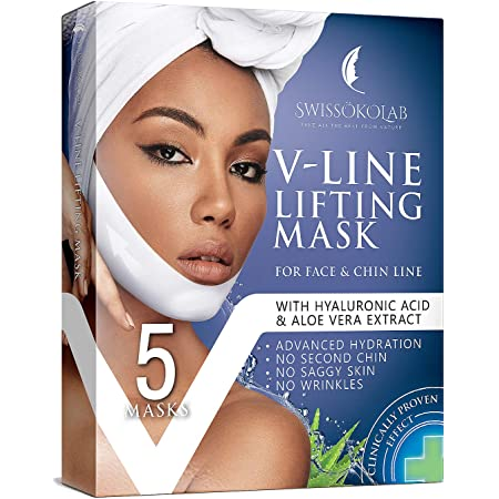 Double Chin Reducer V Line Lifting Mask Face Slimming Strap Chin Neck V Shaped Lift Tape Chin Up Patch V Up Contour Tightening Firming 5 pcs