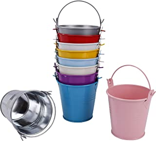 Small Metal Buckets, Colored Galvanized Tinplate Tin Pails with Handles 10Pack/ 2.95 inch Height for Party Favor, Wedding, Candy Box, Votive Candles, Trinkets, Mini Plant Pot Garden Container