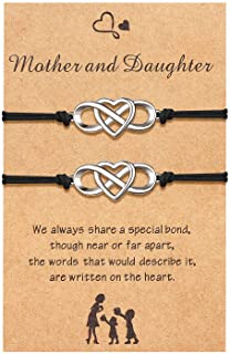 Sincere Mother Daughter Bracelet Set Mom Daughter Mommy and Me Infinity Heart Matching Wish Bracelet for 2 Jewelry Gift fo...