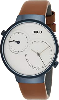 Hugo Boss Men'S Silver White Dial Brown Leather Watch - 1530054