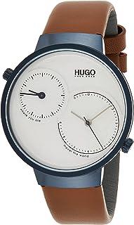 ساعة بمينا ابيض وسوار جلد بني للرجال من هوغو بوس - 1530054