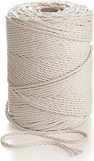 Macrame Rope 3mm * 200m - Natural Cotton Cord - 3PLY Strong Cotton String - Knitting, Crochet, Macramé - Handbag, Hanging ...