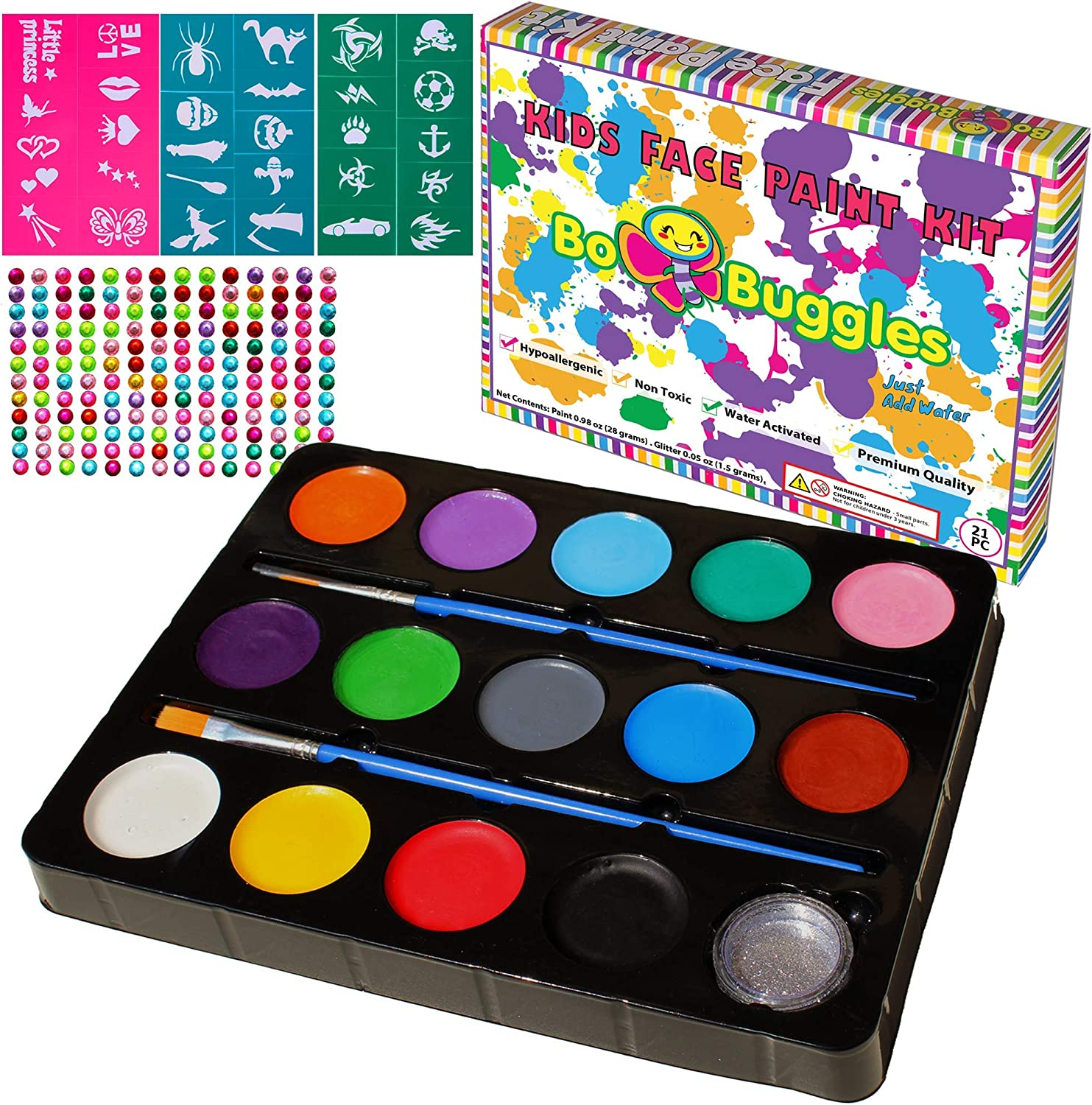 Bo Buggles Face Paint Kit for 30 Kansas City Mall Stencils mart with Professiona Kids