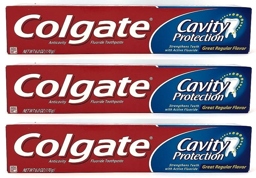 限られたデッドサスペンションColgate 空洞保護フッ化物の歯磨き粉、定期的なフレーバー、6.0オズ(3パック)