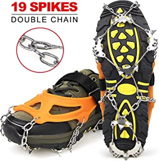 Crampons Ice Cleats for Shoes and Boots Women Men Kids Anti Slip 19 Spikes Stainless Steel Microspikes for Hiking Fishing Walking Climbing Jogging Mountaineering with 1 Free Portable Bag
