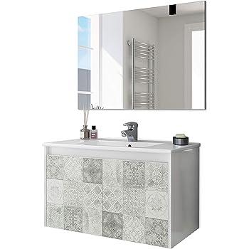 PDM Mueble DE BAÑO SUSPENDIDO Fondo REDUCIDO con Lavabo Espejo TOALLERO Y (Aplique LED no Incluido) MIZAR 60-35 CM (Blanco Brillo): Amazon.es: Hogar