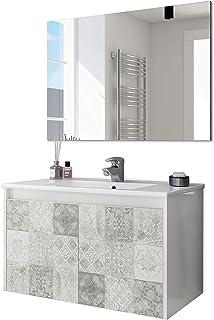 ARKITMOBEL 305034BO - Mueble de baño Due Dos Puertas con Estampado baldosas modulo Lavabo Colgante Color Blanco Brillo y ...