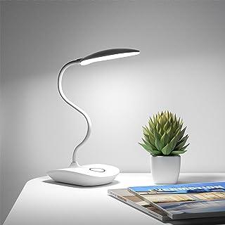 デスクライト Deeplite LED 電気スタンド 卓上スタンド タッチ式三段階調色 USB充電式 360度回転調節 無段階調光 自然光 目に優しい PC作業・仕事・寝室・卓上・読書ランプ 1800mAh- ホワイト