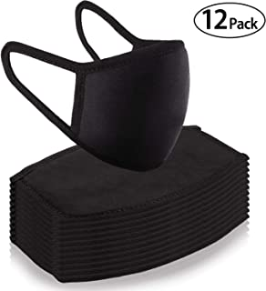 12 Pack Cotton Mouth Mask Anti Dust Mask Unisex Black Cut Half Face Mask Reusable Breathable Cotton Comfy Mouth Cover with Elastic Ear Loops for Outdoor