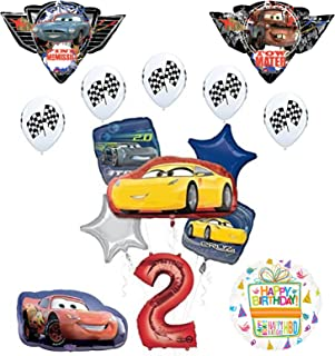 """Mayflower Products Disney Pixar Cars 3"""" 2nd Birthday Party Supplies and Balloon Decorations"""