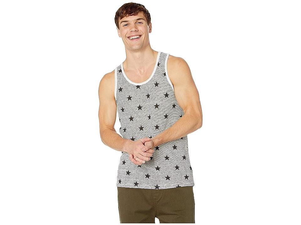 Alternative Eco Jersey Yarn-Dye Stripe Marine Tank Top (Black Stars/Stripes) Men