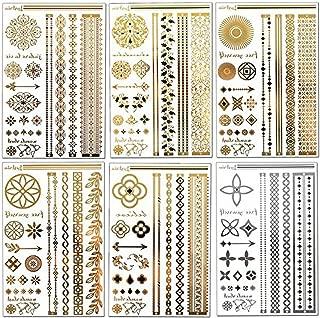 Lustria Metallic Tattoo Jewelry - Bracelets, Armlets & Anklets - Sampler - 6 Sheets 6 Designs