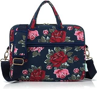 Canvas Laptop Carrying Case/Shoulder Messenger Bag for School Compatible MacBook(15-15.6, Bule Peony)