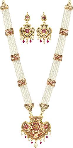 Designer Premium Hydrabadi Indian Faux Pearl Long Necklace Jewellery Set For Women