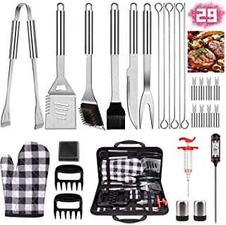 iToncs 2021 Grilling Accessories BBQ Tools Set, 29 PCS Stainless Steel Grill Kit with Case, Great Barbecue Utensil Tool for Men, Dad
