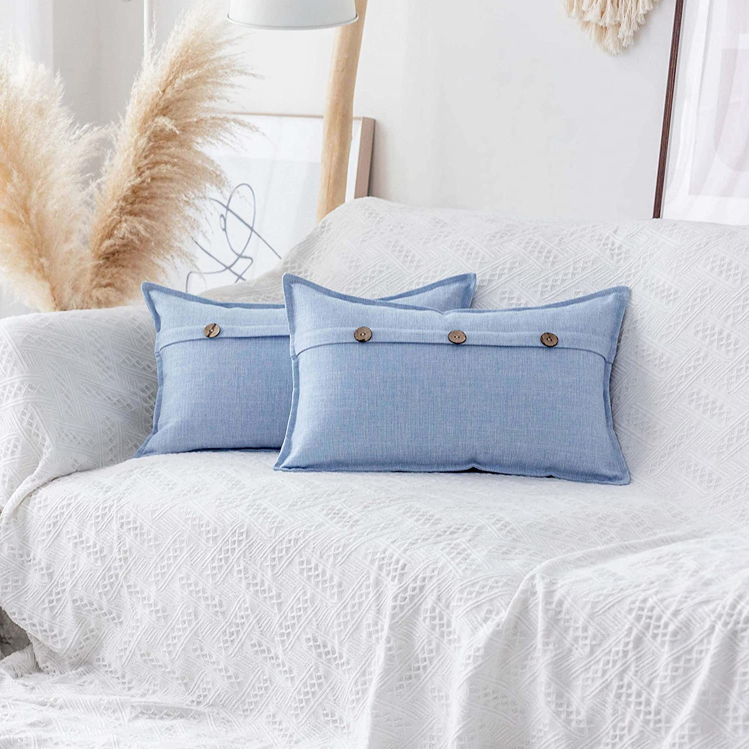 Home Brilliant Burlap Linen Throw Pillow Covers with Triple Buttons Cushion Covers for Bench, 2 Pieces, 12 x 20 inch (30x50cm), Light Blue