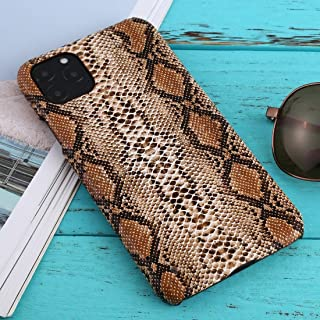 For iPhone 11 Pro Max Snakeskin Pattern Paste Skin Protective Case New (White) Hengk (Color : Brown)