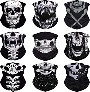 9pcs Headwear, Bandanas Face Mask, Neck Gaiter, Sport Headbands, Head Wrap, Multiple Magic Scarf, Balaclava, Sweatband-Fishing, Running, Hiking, Motorcycling,Festival