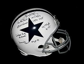TONY DORSETT Signed Dallas Cowboys Throwback STAT Helmet Autograph PSA / DNA