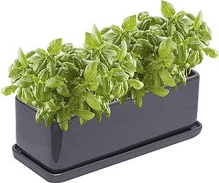 KOZitas 11.5 inch Minimalist Rectangle Planter, Grey Ceramic Succulent Planter Pots/Mini Flower Indoor Planter Terrarium with Draining Saucer. Window Box Apt for Cactus, Herbs, Plants and Flowers