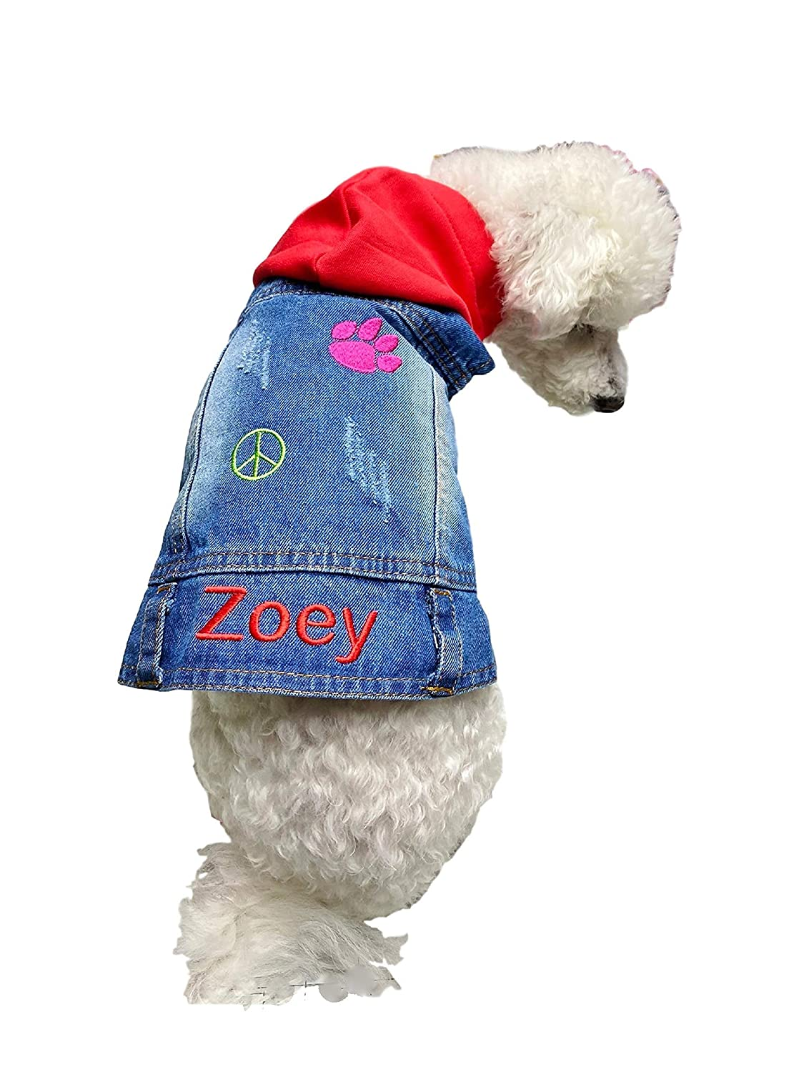 security Personalized DENIM Jeans Jacket DOG Outfit Pea HOODIE Name with Max 75% OFF
