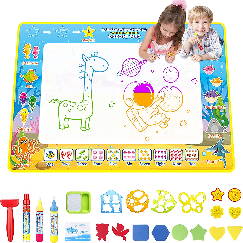 EXTSUD Alfombra de Dibujo de Agua para Niños 100 x 70cm, Agua Dibujo Pintura Juguete Educativo para Niños Mayores de 3 Años