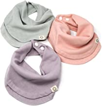 Indi by Kishu Baby - Infinity Scarf Bibs - 100% Organic Cotton Muslin Drool Bib for Girls or Boys with Snaps - 3 Luxurious...