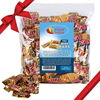 Twix Mini Candy Bars - Chocolate Caramel Mini Bar - Gold Candy - 2 LB Bulk Candy
