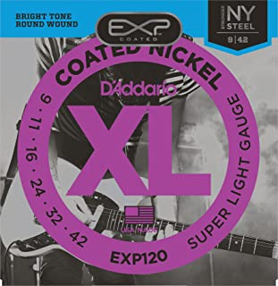 D'Addario EXP120 Coated Electric Guitar Strings, Super Light, 9-42