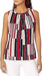 Tommy Hilfiger Women's Sleeveless Pleate Neck Knit Top