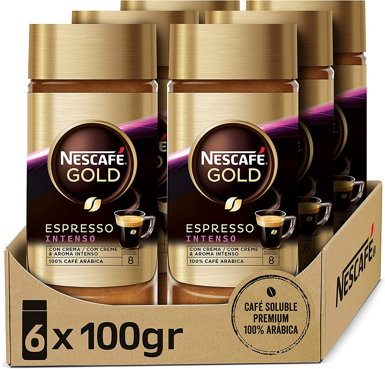 Nescafé Gold Espresso Intenso Café Soluble 100% Arábica - 6 Frascos De 100G - Total: 600G