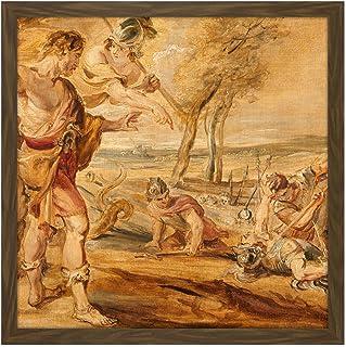 Peter Paul Rubens Cadmus Sådd Dragons Tänder Fyrkant Trä Inramad Väggkonst Tryck Bild 40 x 40 cm