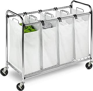 Honey-Can-Do Heavy Duty Quad Rolling Laundry Sorter Hamper, Chrome/White