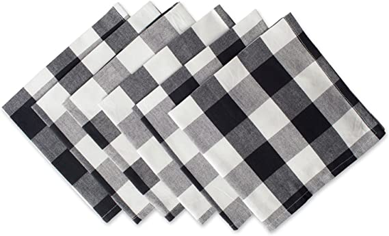 DII Cotton Buffalo Check Oversized Basic Cloth Napkin for Everyday Place Settings