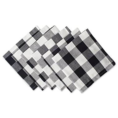 DII Classic Buffalo Check Tabletop Collection for Family Dinners, Special Occasions, Barbeques, Picnics and Everyday Use, 100% Cotton, Machine Washable, Napkin Set, 20x20, Black & White 6 Piece
