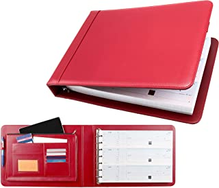 Business Check 7 Ring Binder for 3-Up Checks PU Leather Portfolio Checkbook Cover with Built in Storage Organizer (Red)