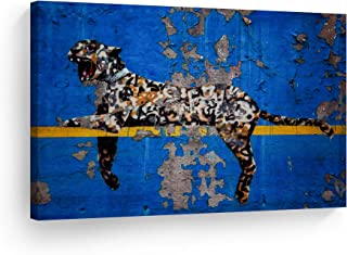 Smile Art Design Banksy Canvas Print Bronx Zoo Yankee Stadium Tiger Graffiti NYC USA Street Art Banksy Wall Art Modern Art Wall Decor Living Room Office Home Decor Ready to Hang-Made in USA- 24x36
