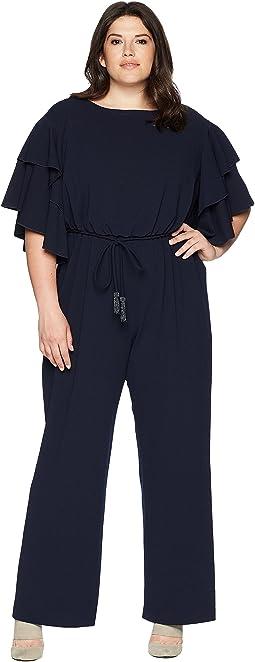 Plus Size Blouson Ruffle Sleeve Jumpsuit
