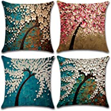 MIULEE Pack of 4 Decorative Oil Painting Tree Pillow Cushion Cover Set Cotton Linen for Sofa Bedroom Car 18 x 18 Inch 45 x 45 cm