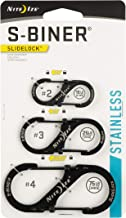 Nite Ize LSBC-01-R6 S-Biner SlideLock Dual Locking Carabiner, Assorted 3-Pack, Sizes 2, 3, 4, Black