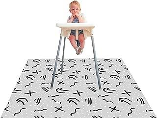 Paw Legend Washable Highchair Splat Mat for Floor- Anti-Slip Splash Mess Mat(53'' X 53'')-Under Highchair Mat-Food Catcher Art Craft Leak Proof Mat (Doodle)