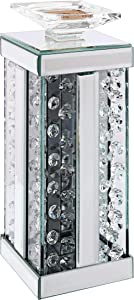Acme Furniture Nysa Accent Candleholder, Mirrored and Faux Crystals