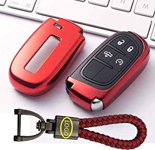 BINOWEN Key Case Fob Holder Cover Smart Remote Keyless Key Fob with Key Chain Fit for Jeep Grand Cherokee Dodge Challenger Charger Dart Durango Journey Chrysler 300
