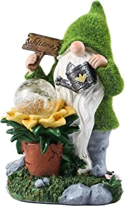 Solar Garden Gnome Statue - Large Outdoor Gnome Figurine Decorations with Solar Lights, 11.4