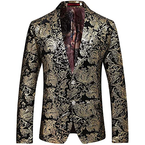 GOMY Mens Casual Dress Suit Jacket Slim Fit Floral Prints Stylish Blazer Coats S, Blue