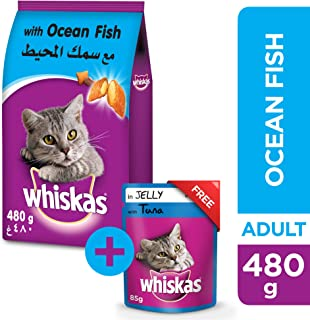 Whiskas Ocean Fish, Dry Food Adult, 1+ years, 480g + Tuna in Jelly, Pouch, 85g