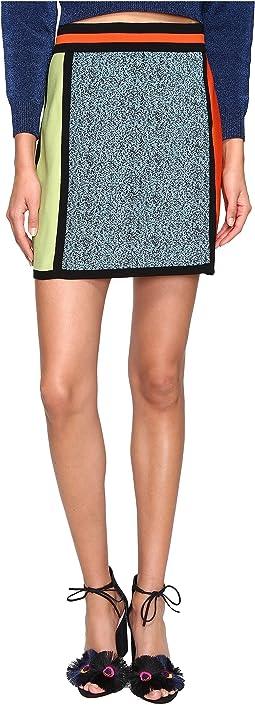 Color Block Intarsia Skirt